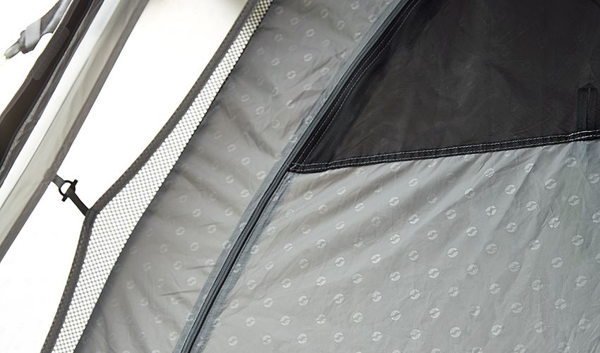 Embossed flysheets and inners on family tents