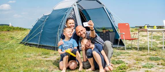 Family at campingsite