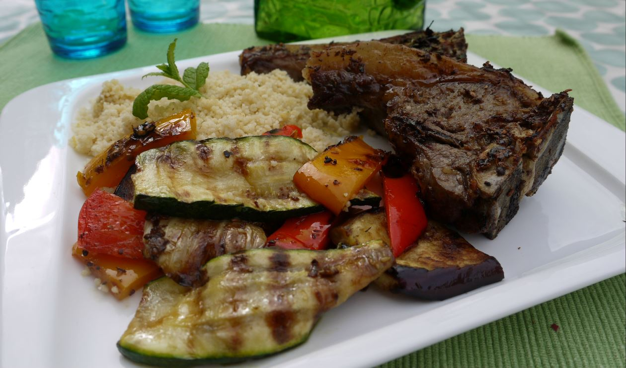 Grilled Lamb with couscous and vegetables.