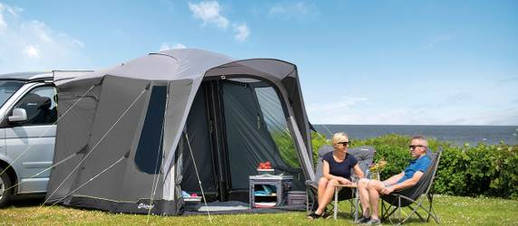 Inflatable drive-away awnings