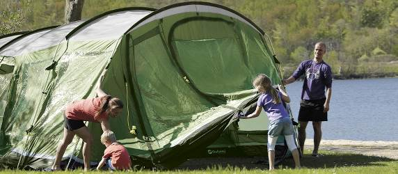Family pitching Montana Front Awning