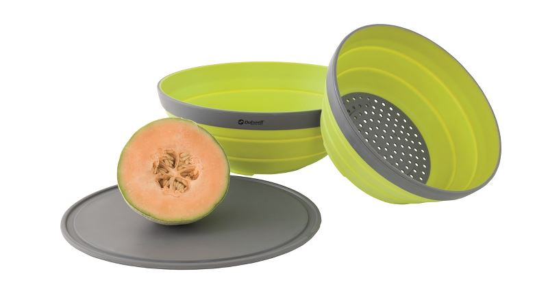 Outwell Collaps Bowl & Colander Set Lime Green